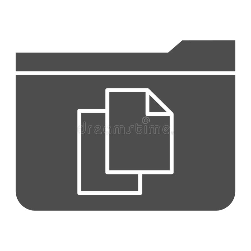 File folder solid icon. Folder with documents vector illustration isolated on white. Computer folder glyph style design. Designed for web and app. Eps 10 stock illustration