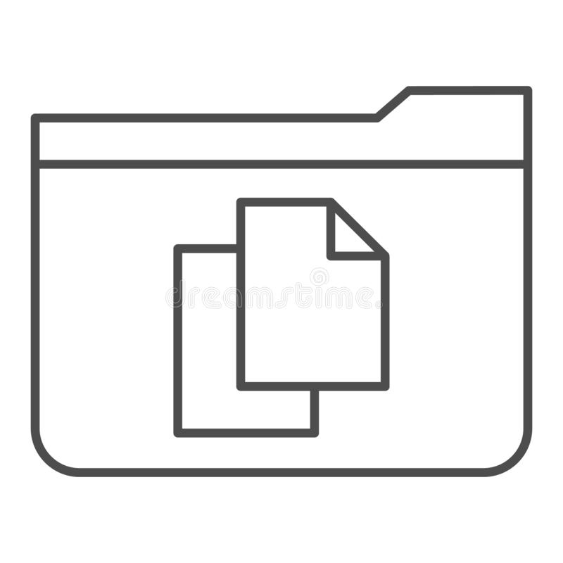 File folder thin line icon. Folder with documents vector illustration isolated on white. Computer folder outline style. Design, designed for web and app. Eps 10 vector illustration