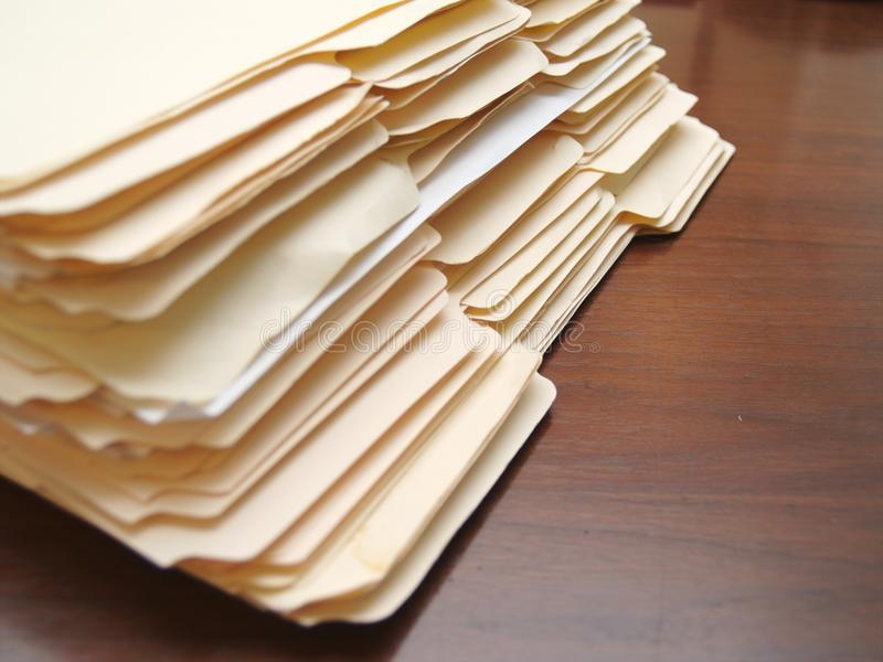 File folders on a desk royalty free stock photography