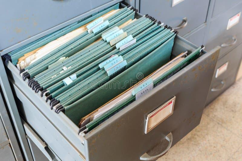 File folders in a filing cabinet. Close up File folders in a filing cabinet stock image