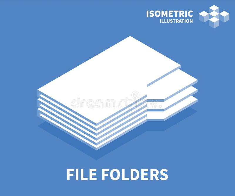 File folders icon. Isometric template for web design in flat 3D style. Vector illustration.  stock illustration