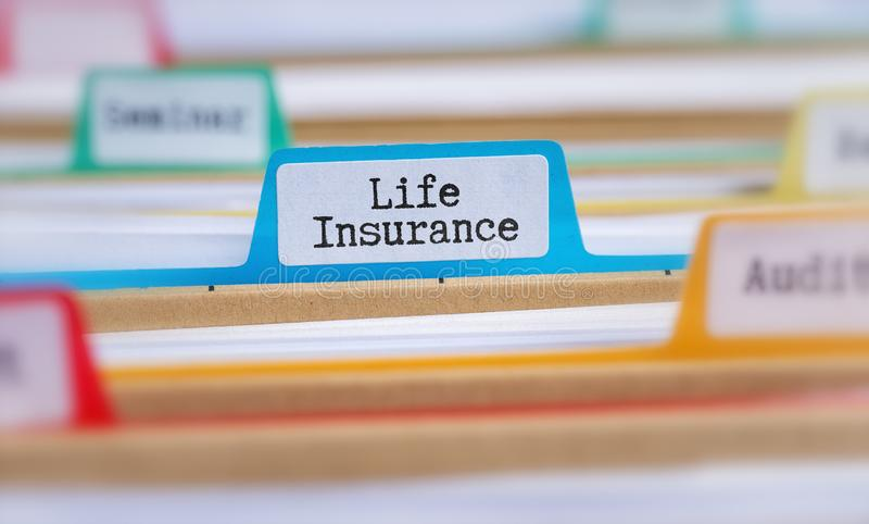 File folders with a tab labeled Life Insurance royalty free stock photos
