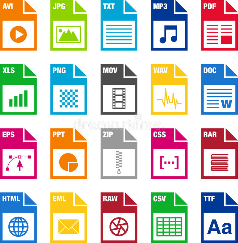 File format icons. An illustration of different file format icons stock illustration