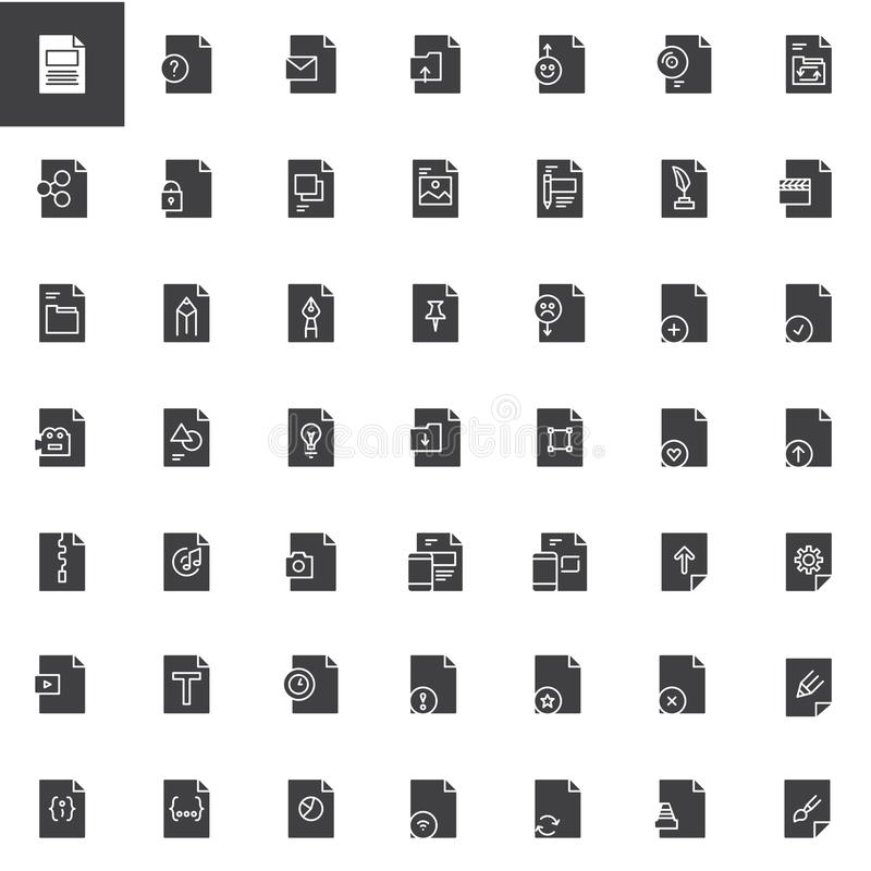 File formats vector icons set. Modern solid symbol collection, filled style pictogram pack. Signs, logo illustration. Set includes icons as txt, eml, archive vector illustration