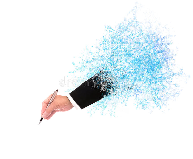 File of hand of business man writing through splashing water wit stock photography