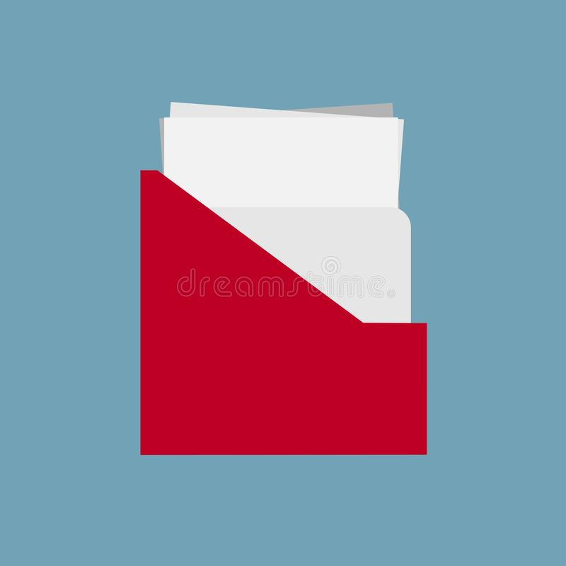 File holder binder design vector flat icon. Archive sheet stationary data paperwork.  royalty free illustration