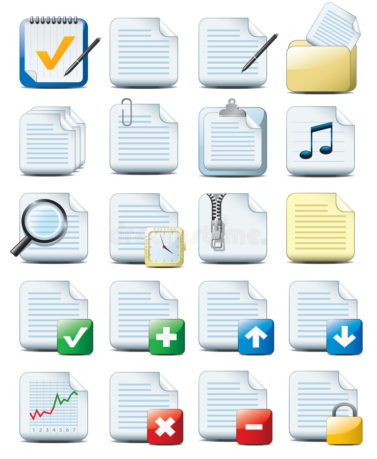 File icons. Beautiful vector icons set of computer documents isolated on white background
