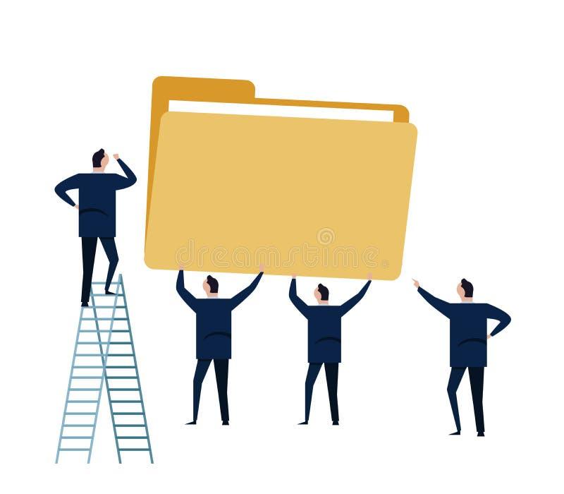 File management storage data folder business concept illustration. man team work working together vector illustration