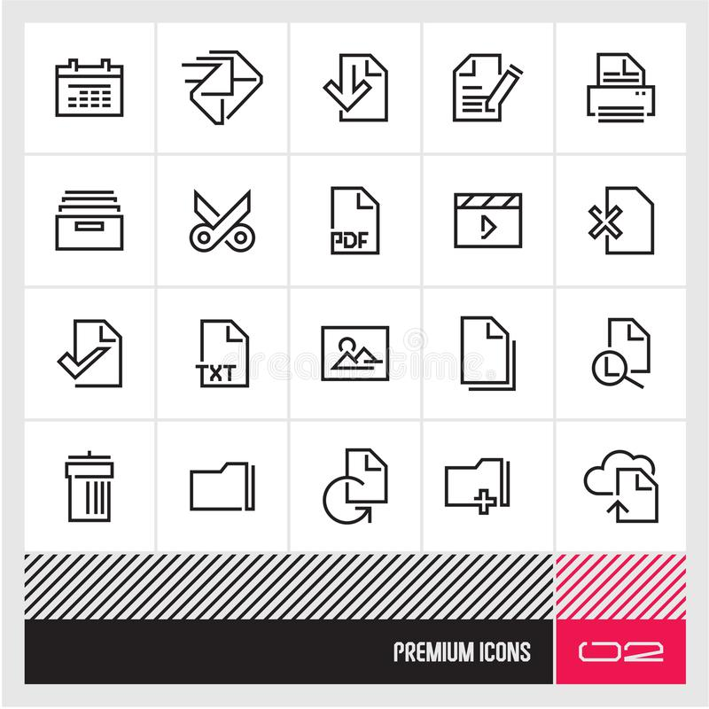 File management thin line vector icons. Premium quality web and computer icons. vector illustration