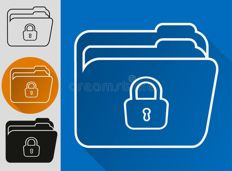 File protection. Data security and privacy concept. Safe confidential information. Vector illustration. stock illustration