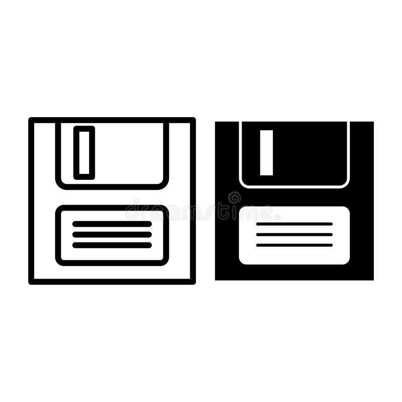 File save line and glyph icon. Diskette vector illustration isolated on white. Disc outline style design, designed for. Web and app. Eps 10 royalty free illustration