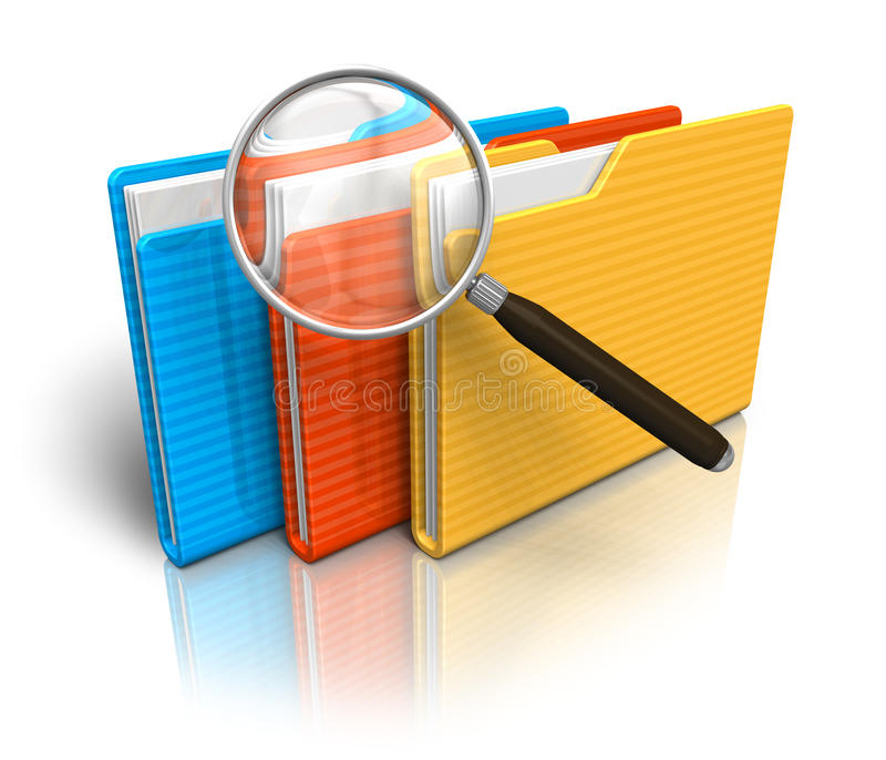 File search concept. Folders and magnifying glass isolated over white background royalty free illustration