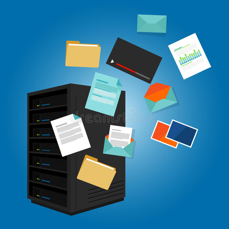 File server data such as document image video email folder. Vector royalty free illustration