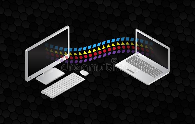 File sharing concepts. Isometric design elements on the black background. Information transferring computer and laptop. Abstract data transfer vector royalty free illustration