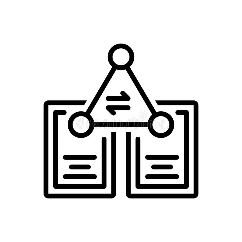 Black line icon for File, Sharing and transfer stock illustration