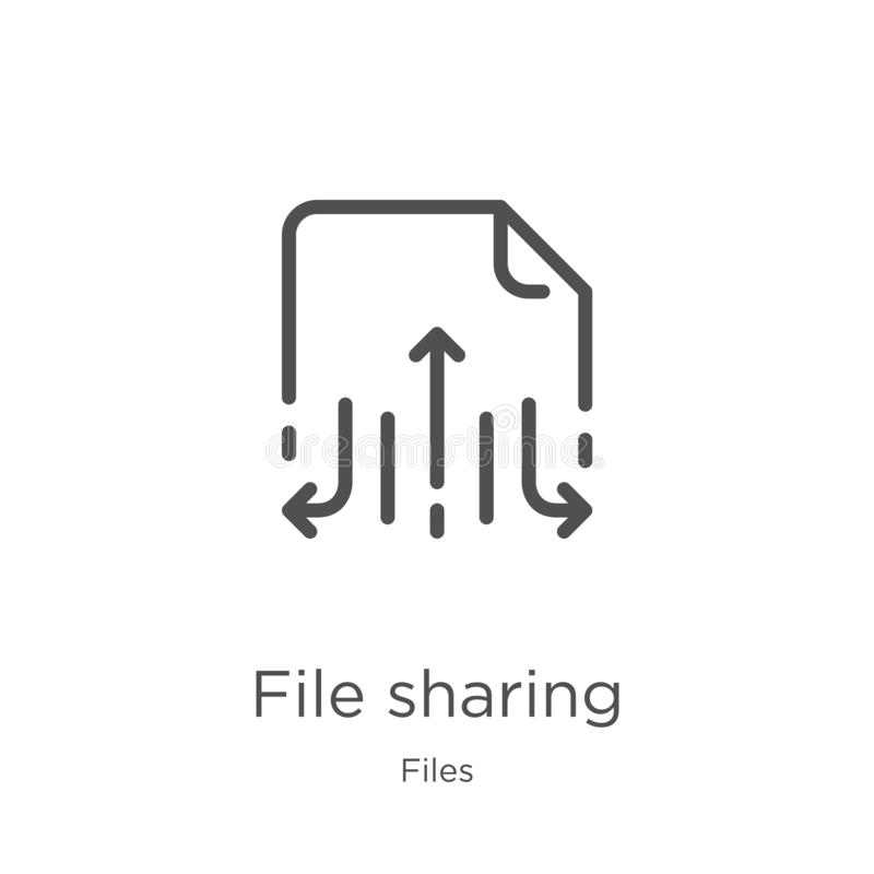 file sharing icon vector from files collection. Thin line file sharing outline icon vector illustration. Outline, thin line file royalty free illustration