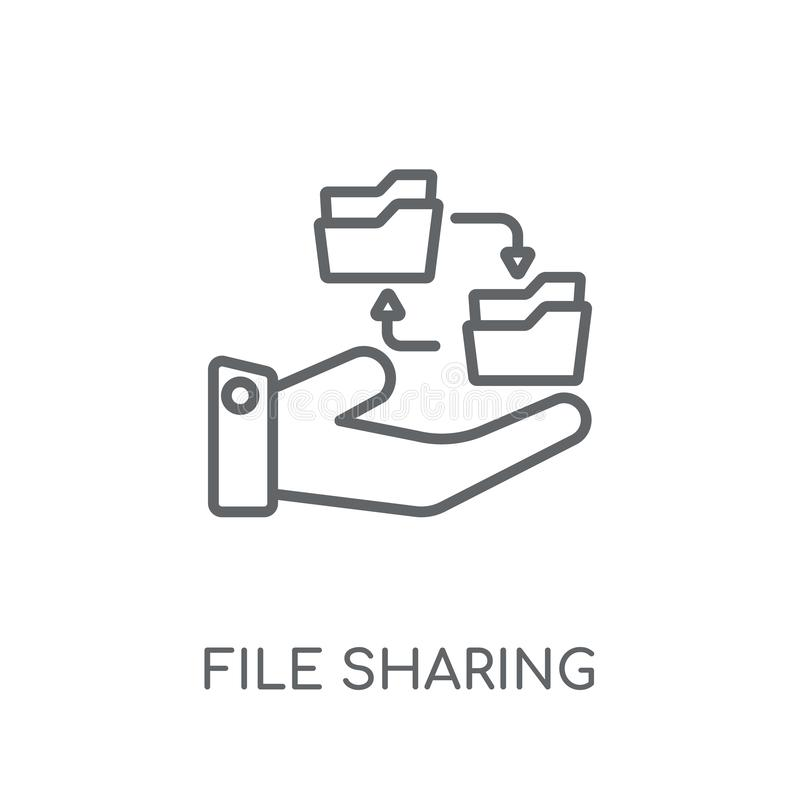 File sharing linear icon. Modern outline File sharing logo conce royalty free illustration