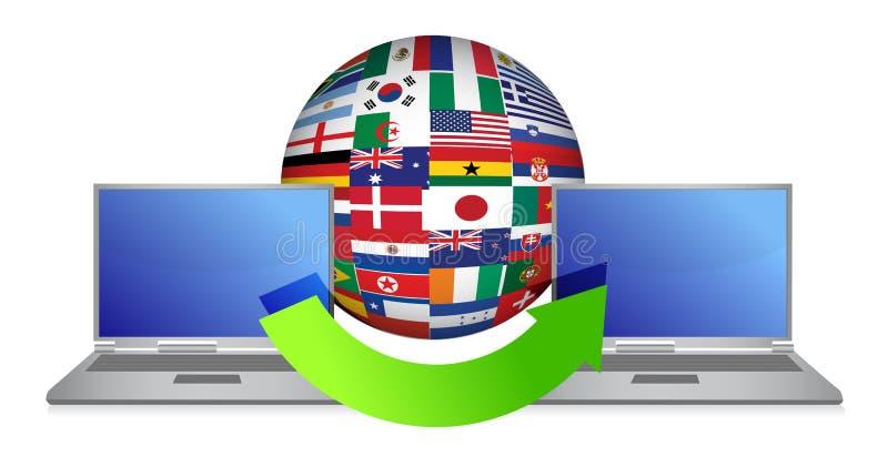 Download File Transfer Around The Globe Stock Illustration - Image: 27555277