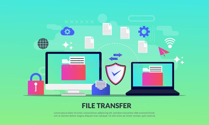 File transfer concept, sharing files between devices with folders on screen and transferred documents, Backup files, flat icon, vector illustration
