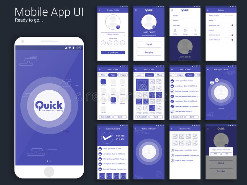 File Transfer Mobile App UI, UX And GUI Layout. Stock