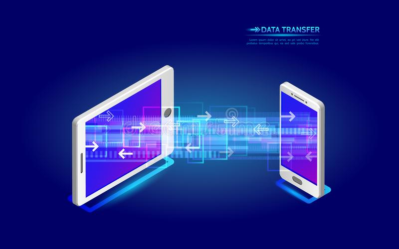 File transfer from tablet to smartphone. Abstract virtual digital stream. Wireless communications concept. Data flow vector illustration stock illustration