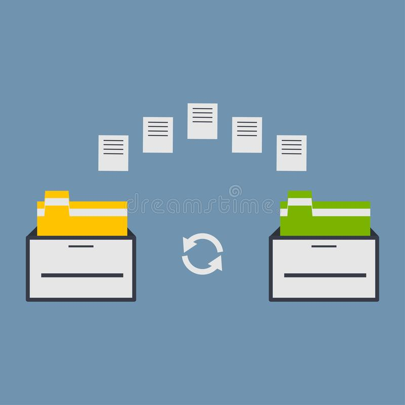 File transfer. Two folders transferred documents. Copy files, data exchange, backup, PC migration, sharing concepts. Flat design vector illustration