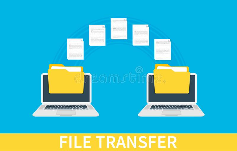 File transfer. Two laptops with folders on screen and transferred documents. Copy files, data exchange, backup, PC. Migration, file sharing concepts. Vector royalty free illustration