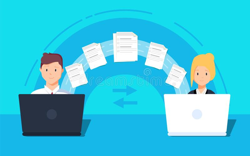File transfer. Two laptops transferred documents. Copy files, data exchange, backup. PC migration, file sharing concepts. Flat design graphic elements. Vector vector illustration
