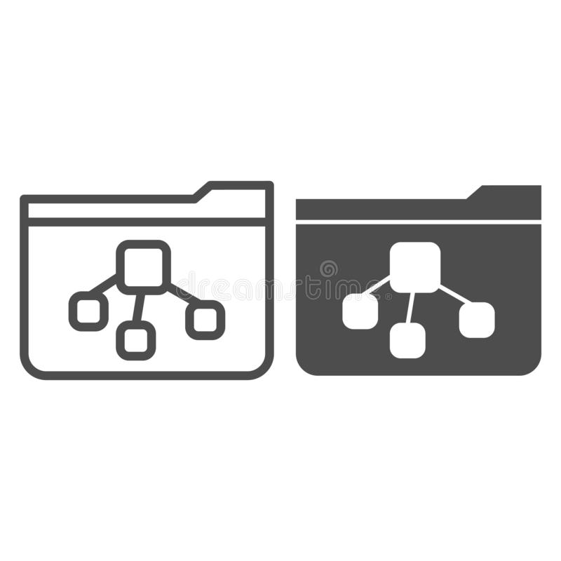 File tree folder line and glyph icon. Folder with document vector illustration isolated on white. Computer folder. Outline style design, designed for web and vector illustration