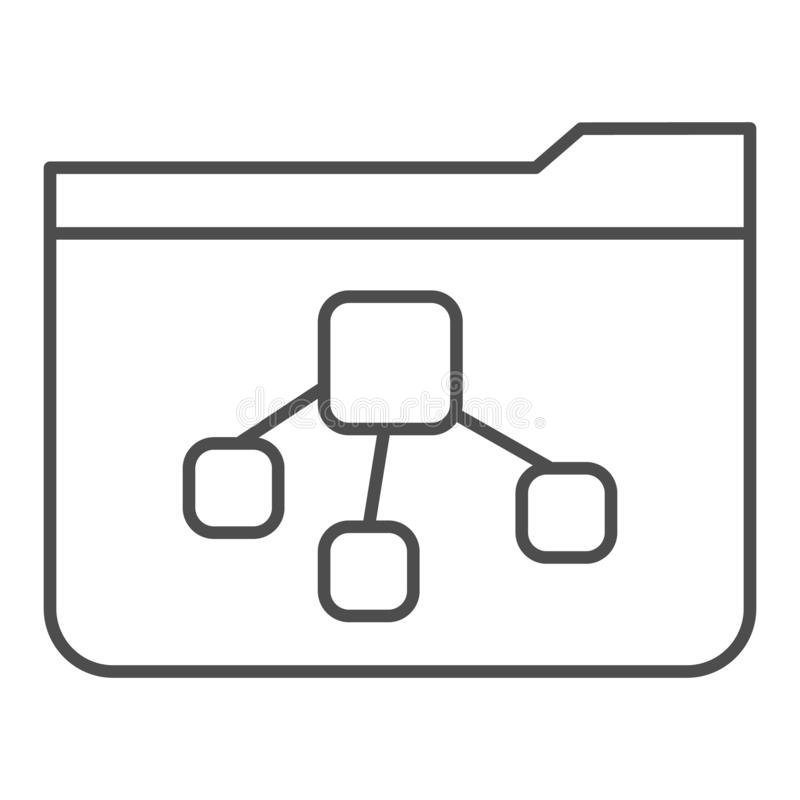 File tree folder thin line icon. Folder with document vector illustration isolated on white. Computer folder outline. Style design, designed for web and app royalty free illustration