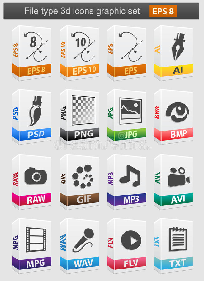 Download File type 3d icons set. stock vector. Image of vector - 21709906