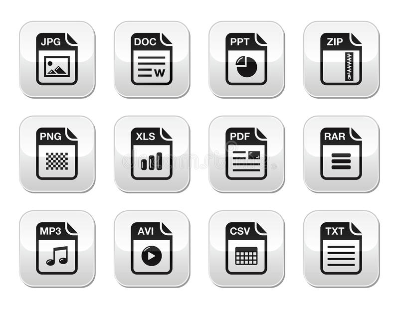 Download File Type Black Icons On Modern Grey Buttons Set Stock Illustration - Illustration of photo, shiny: 26426884