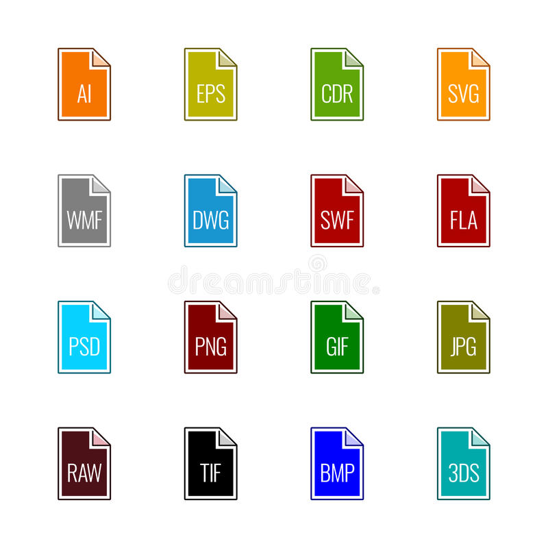 File type icons: Graphics - Linne UL Color royalty free stock photos