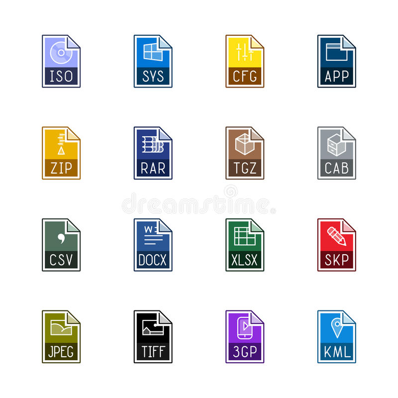 File type icons: Miscellaneous - Linne Color royalty free stock photography