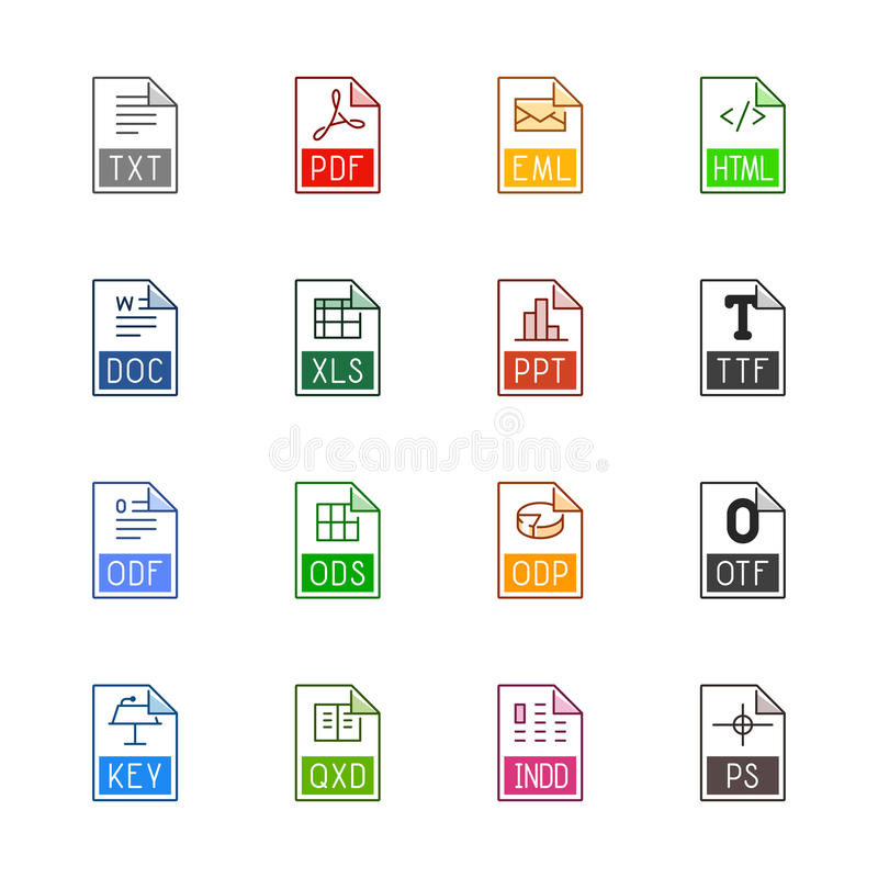 File type icons: Texts, fonts and page layout - Linne Color royalty free stock photo