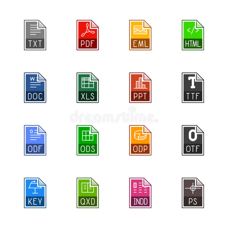 File type icons: Texts, fonts and page layout - Linne Color royalty free stock photos