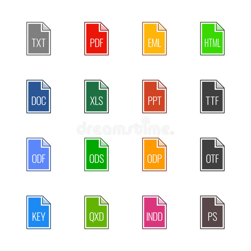 File type icons: Texts, fonts and page layout - Linne UL Color royalty free stock photography