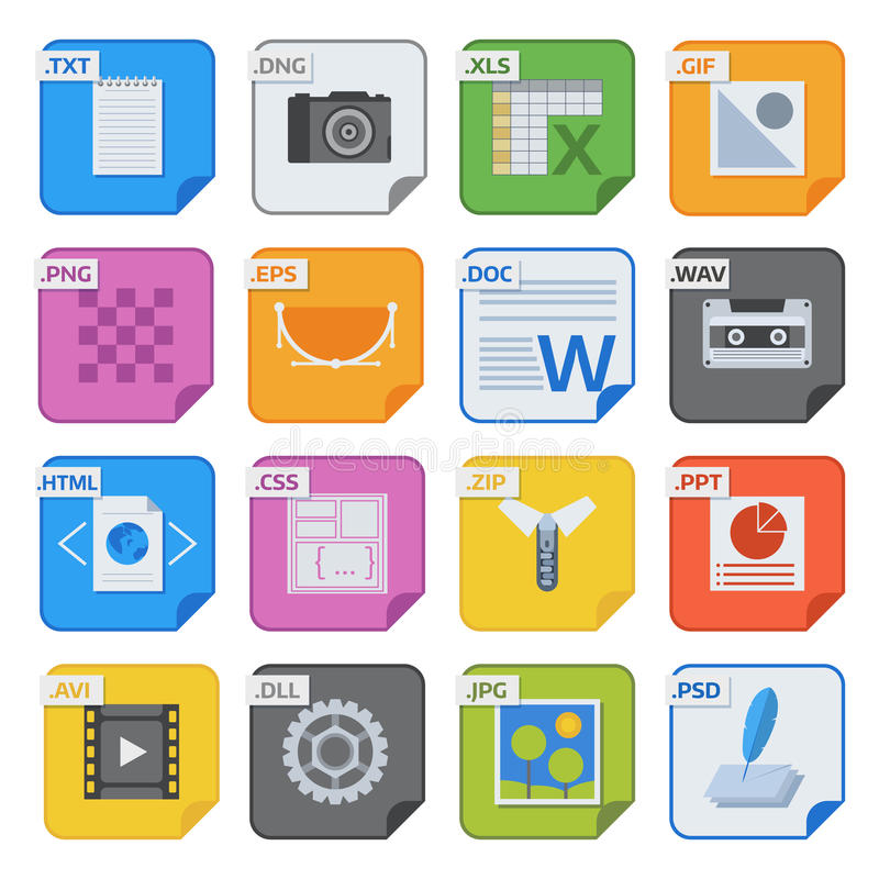 File Type Icons Vector Set Stock Vector Illustration Of Paper