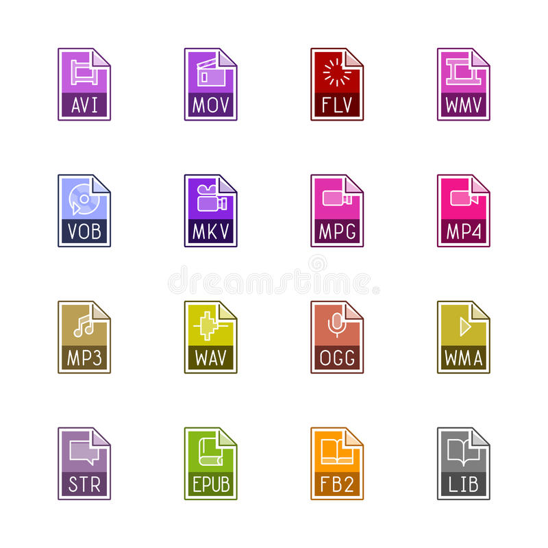 File type icons: Video, sound, and books - Linne Color royalty free stock photos