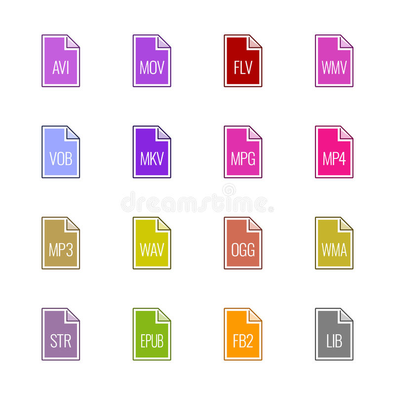 File type icons: Video, sound, and books - Linne UL Color stock photo