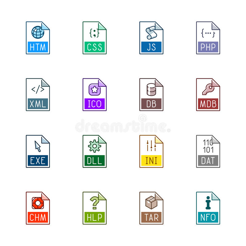 File type icons: Websites and applications - Linne Color royalty free stock image
