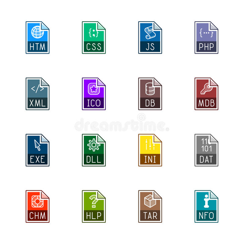 File type icons: Websites and applications - Linne Color royalty free stock images