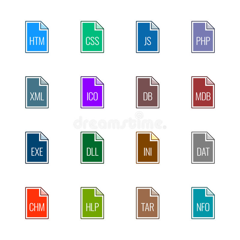 File type icons: Websites and applications - Linne UL Color royalty free stock photo