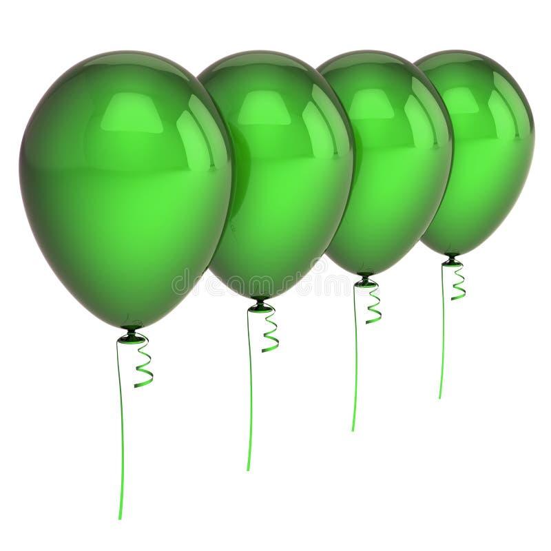Fileira arranjada placa de quatro balões do Partido Verde ilustração stock