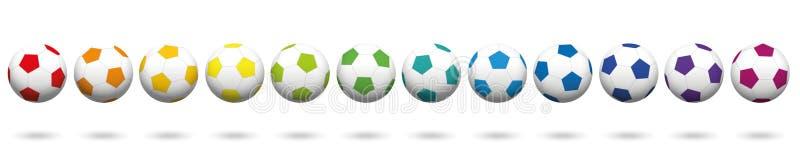 Fileira colorida arco-íris da coleção das bolas de futebol ilustração do vetor