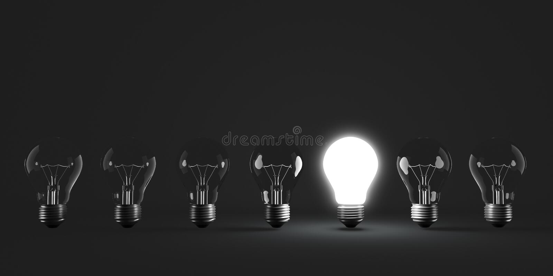 Fileira da ampola com o um bulbo iluminado ilustração royalty free