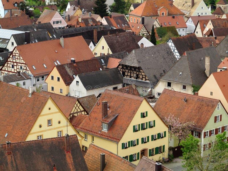 Fileira da cidade de Hilpoltstein das casas fotografia de stock
