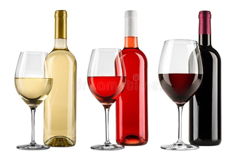 Fileira da coleção vermelha excelente do grupo do vidro de garrafa do vinho branco e cor-de-rosa isolada no fundo branco fotografia de stock royalty free