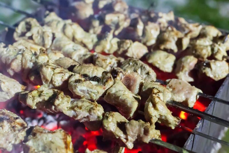 A fileira da galinha da carne de porco do no espeto de uma parte de carne flavored cozinhou em espetos de um ferro contra um clos imagem de stock