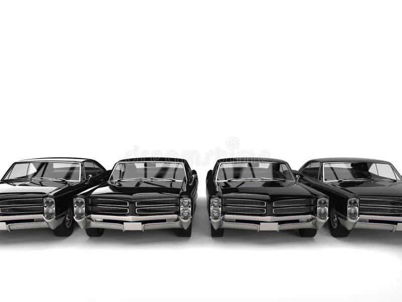 Fileira da opinião dianteira automobilístico do vintage preto impressionante ilustração royalty free